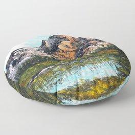 Bob Ross Mountain Artwork Floor Pillow