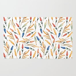 Watercolor seamless pattern with wheat sprouts and colored flowers Rug