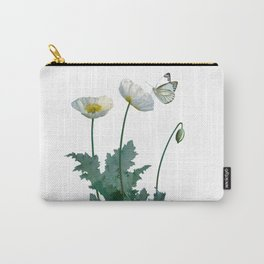 Spade's White Poppies Carry-All Pouch