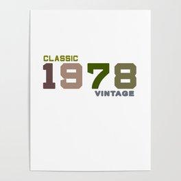 41th Birthday Gift Vintage 1978 T-Shirt Men Women Poster