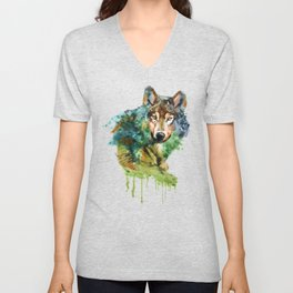 Wolf face watercolor painting Unisex V-Neck