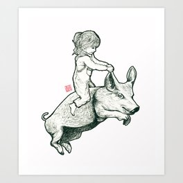 Girl on a flying pig Art Print
