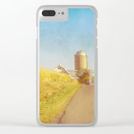 Golden Yellow Cornfield and Barn with Blue Sky Clear iPhone Case