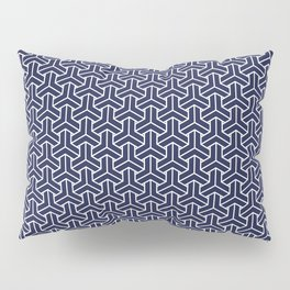 Japanese Yukata Jinbei Bishamon Navy pattern Pillow Sham