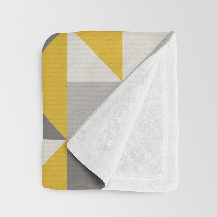 Retro Triangle Pattern in Yellow and Grey Throw Blanket