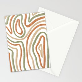 Abstract Line Boho Earth Tones  Stationery Cards