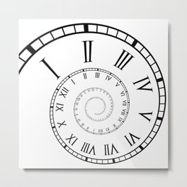 Roman Clock Spiral Metal Print