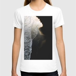 Waves on a moody black sand beach in iceland - minimalist Landscape Photography  T-shirt