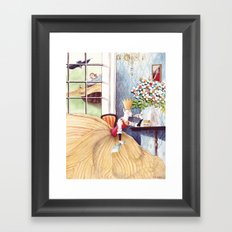 The Queen was in the parlor Eating bread and honey Framed Art Print