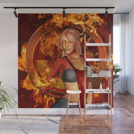 The awesome fire girl , fire on the background Wall Mural