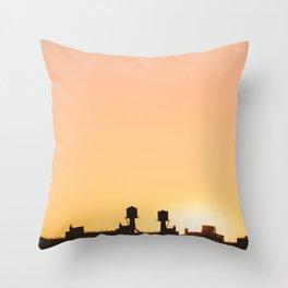 New York Water Towers Sunset Throw Pillow