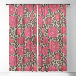 Leopard print with red roses Sheer Curtain