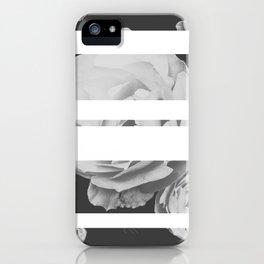 White Stipe Roses iPhone Case
