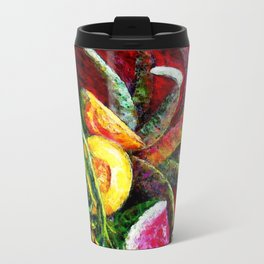 Melons, Sunflowers, Bromeliad Still Life Travel Mug