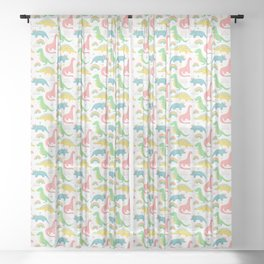 Dinosaurs + Rainbows in Pink Sheer Curtain