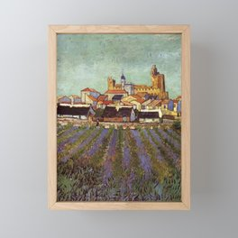 Lavender fields and View of Saintes-Maries by Vincent van Gogh Framed Mini Art Print