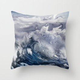 Stormy sea with water droplets Throw Pillow