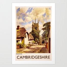 classic poster Cambridgeshire Art Print