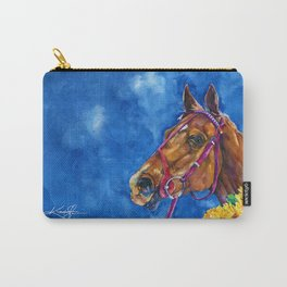 Secretariat Painting, Large Race Horse Watercolor Art Carry-All Pouch