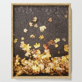 Gold yellow maple leaves autumn asphalt road Serving Tray