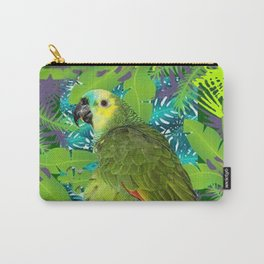 DECORATIVE GREEN PARROT JUNGLE GRAY-GREEN ART Carry-All Pouch