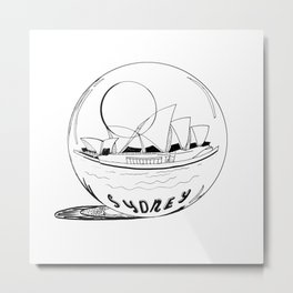 Sydney in a glass globe . artwork Metal Print