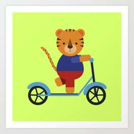 Tiger on Scooter Art Print
