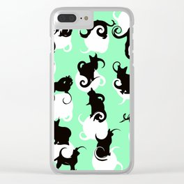 Tea Time Cat Swirls Clear iPhone Case