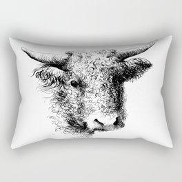 Hand drawn bull, cow, bison, bufalo head portrait   Rectangular Pillow