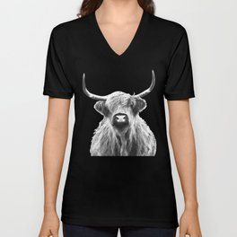 Black and White Highland Cow Portrait Unisex V-Neck