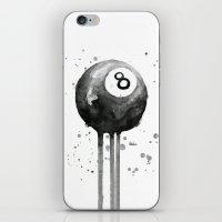 8-Ball Watercolor Black Pool Billiards Eight Ball Art iPhone & iPod Skin