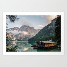 Mountain Lake Cabin Retreat Art Print