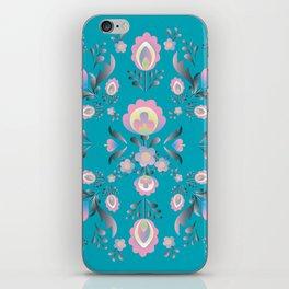 Dusty Blue Folk Flowers iPhone Skin