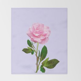 SINGLE PINK ROSE FOR LOVE Throw Blanket