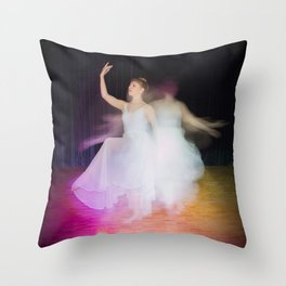 Ballerina dancing on stage Throw Pillow