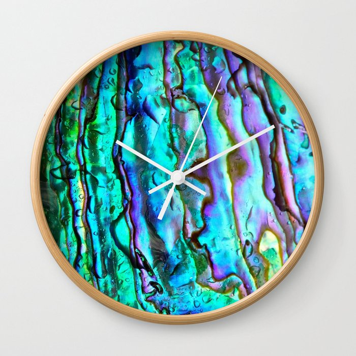 Mother Of Pearl >> Glowing Aqua Abalone Shell Mother Of Pearl Wall Clock By