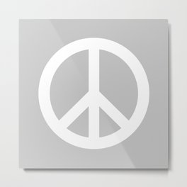 Peace (White & Gray) Metal Print
