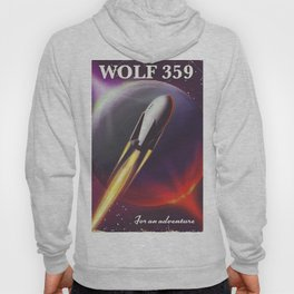 Wolf 359 Vintage science fiction space travel Hoody