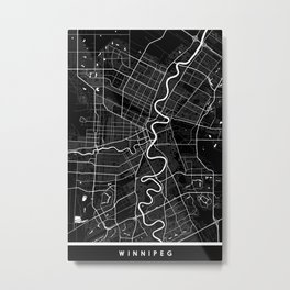 Winnipeg - Minimalist City Map Metal Print