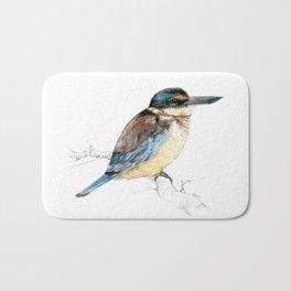 Mr Kōtare, New Zealand native kingfisher bird Bath Mat