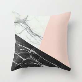 Black and White Marble with Pantone Pale Dogwood Throw Pillow