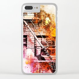 NYC Watercolor Collection - Fire Escape Clear iPhone Case