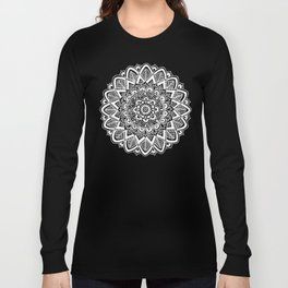 Black and White Boho Mandala Long Sleeve T-shirt