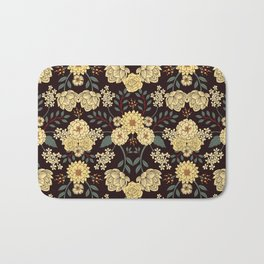 Teal, Cream, Red, Orange & Brown Flowers - Pretty Floral Pattern Bath Mat