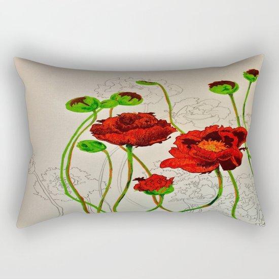 Very Red Flowers Rectangular Pillow