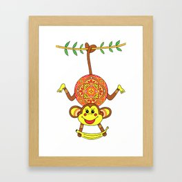 MONKEY MANDALA CHILDREN Framed Art Print