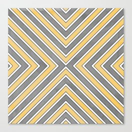 Stripes in Grey and Yellow-bold Canvas Print