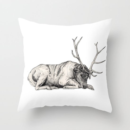Stag // Graphite Throw Pillow