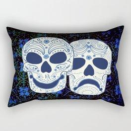 Comedy-Tragedy Sugar Skulls Cyan Rectangular Pillow