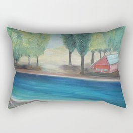 The Orchard House, the Spring Tulips, and the Blue, blue river by Marguerite Blasingame Rectangular Pillow